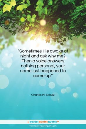 """Charles M. Schulz quote: """"Sometimes I lie awake at night and…""""- at QuotesQuotesQuotes.com"""