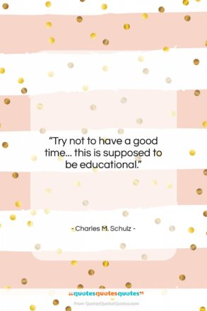 "Charles M. Schulz quote: ""Try not to have a good time……""- at QuotesQuotesQuotes.com"