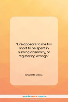 """Charlotte Bronte quote: """"Life appears to me too short to…""""- at QuotesQuotesQuotes.com"""