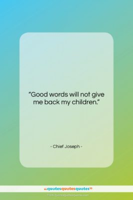 """Chief Joseph quote: """"Good words will not give me back…""""- at QuotesQuotesQuotes.com"""