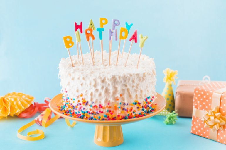 cute birthday cake with candles