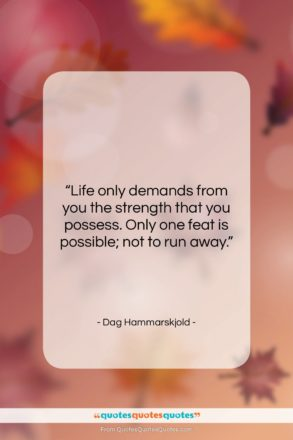 """Dag Hammarskjold quote: """"Life only demands from you the strength…""""- at QuotesQuotesQuotes.com"""