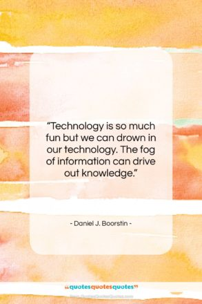 """Daniel J. Boorstin quote: """"Technology is so much fun but we…""""- at QuotesQuotesQuotes.com"""