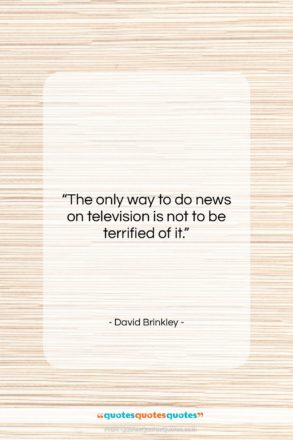 """David Brinkley quote: """"The only way to do news on…""""- at QuotesQuotesQuotes.com"""