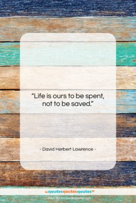"""David Herbert Lawrence quote: """"Life is ours to be spent, not…""""- at QuotesQuotesQuotes.com"""