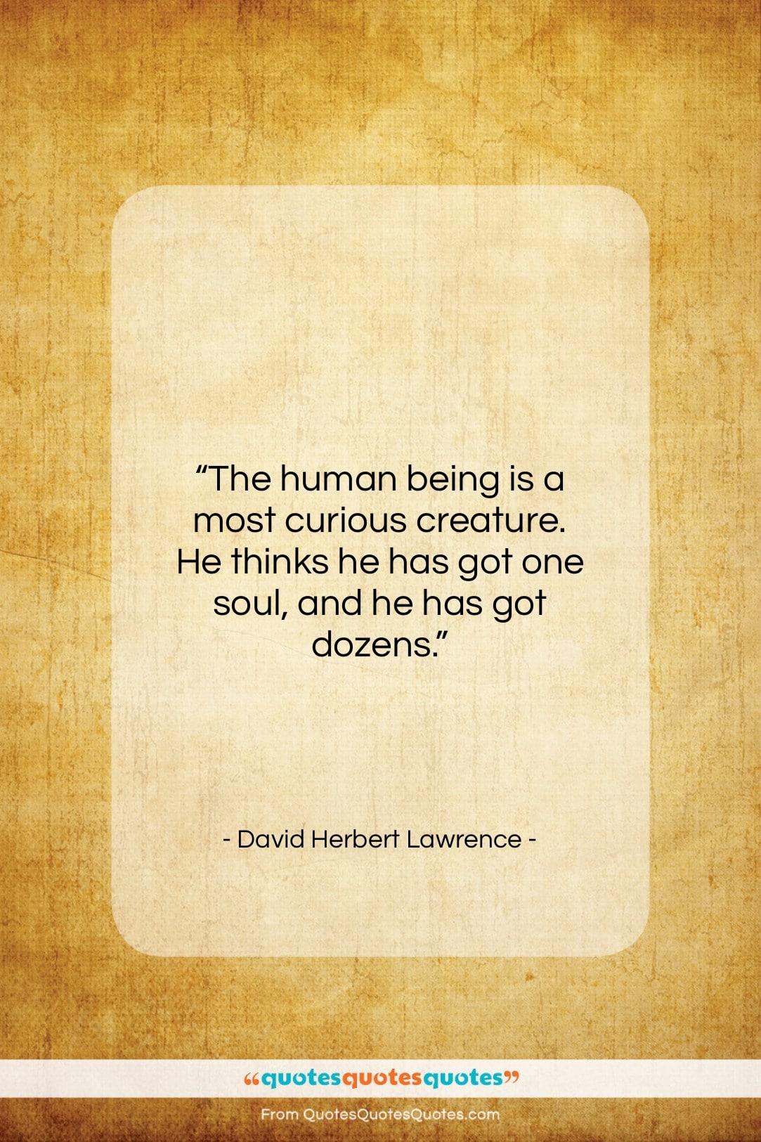 """David Herbert Lawrence quote: """"The human being is a most curious…""""- at QuotesQuotesQuotes.com"""
