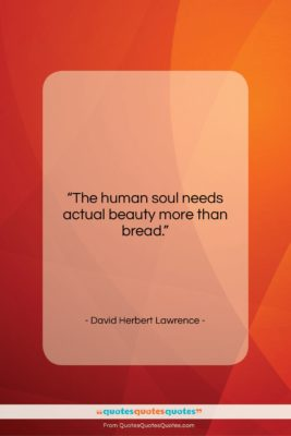 "David Herbert Lawrence quote: ""The human soul needs actual beauty more…""- at QuotesQuotesQuotes.com"