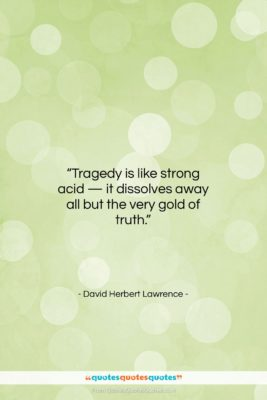"""David Herbert Lawrence quote: """"Tragedy is like strong acid — it…""""- at QuotesQuotesQuotes.com"""