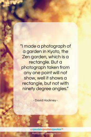 "David Hockney quote: ""I made a photograph of a garden…""- at QuotesQuotesQuotes.com"