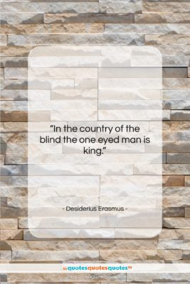 """Desiderius Erasmus quote: """"In the country of the blind the…""""- at QuotesQuotesQuotes.com"""