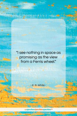 "E. B. White quote: ""I see nothing in space as promising…""- at QuotesQuotesQuotes.com"