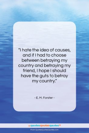 """E. M. Forster quote: """"I hate the idea of causes, and…""""- at QuotesQuotesQuotes.com"""