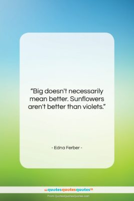 """Edna Ferber quote: """"Big doesn't necessarily mean better. Sunflowers aren't…""""- at QuotesQuotesQuotes.com"""