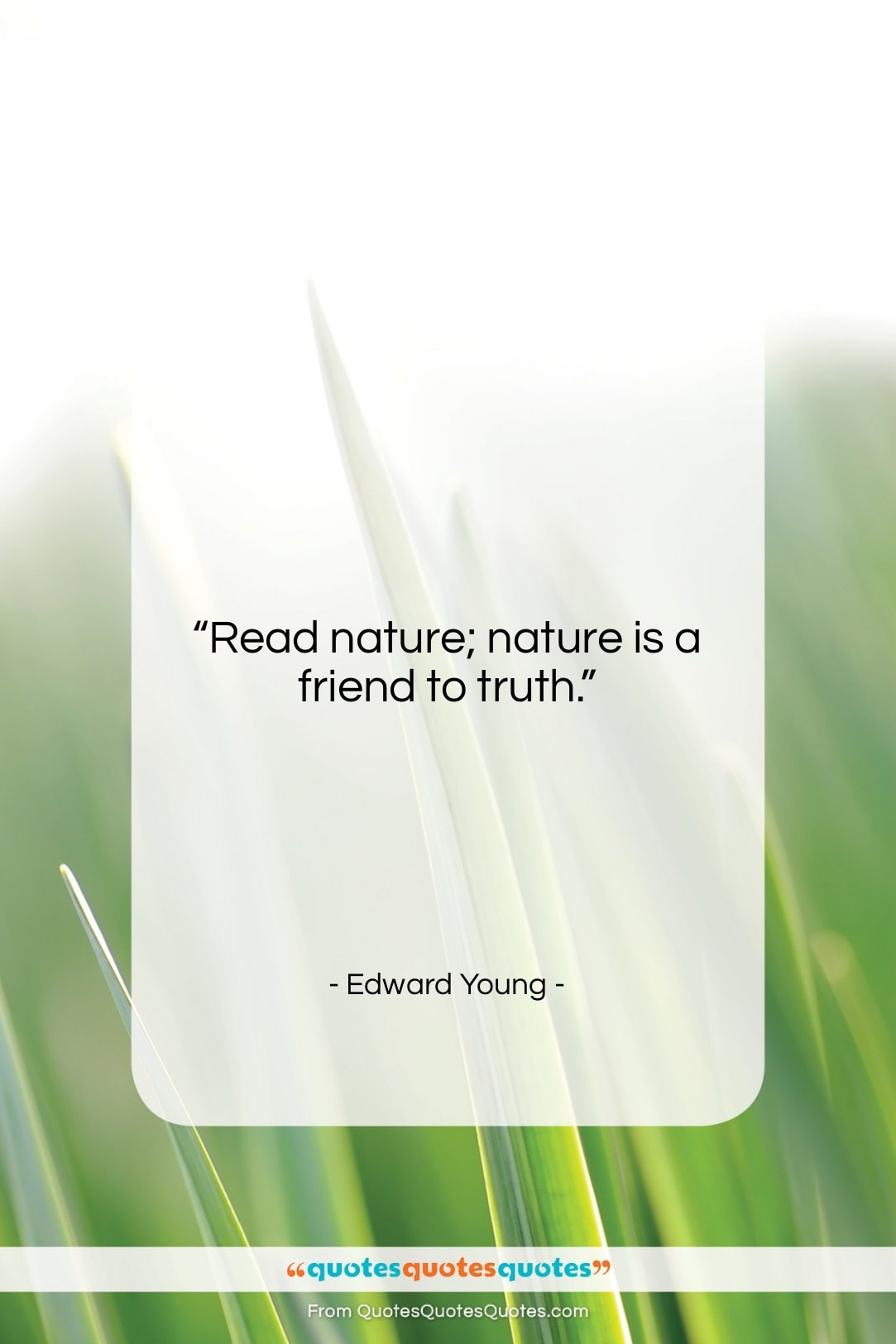 """Edward Young quote: """"Read nature; nature is a friend to…""""- at QuotesQuotesQuotes.com"""