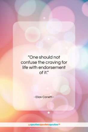 """Elias Canetti quote: """"One should not confuse the craving for…""""- at QuotesQuotesQuotes.com"""