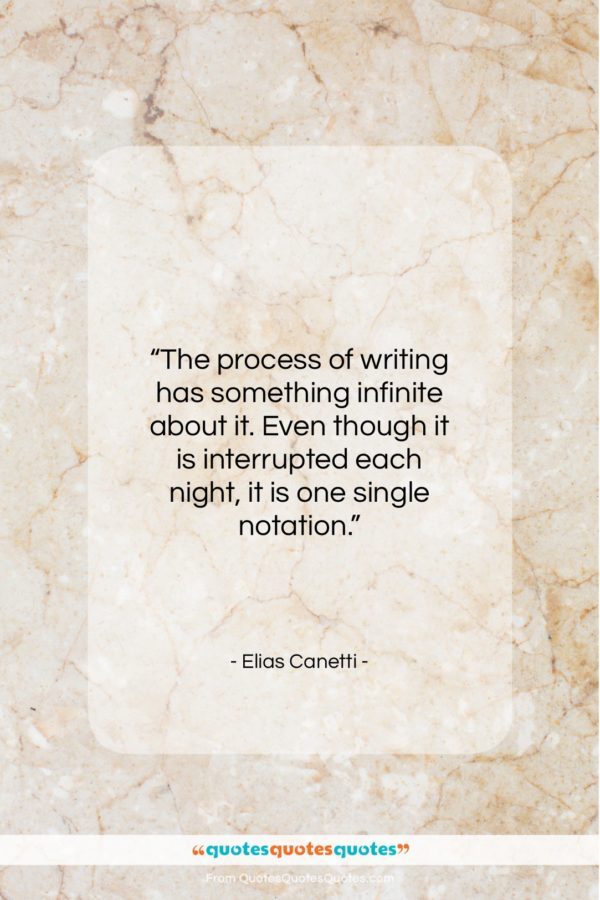 """Elias Canetti quote: """"The process of writing has something infinite…""""- at QuotesQuotesQuotes.com"""