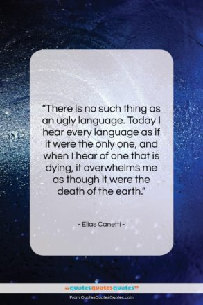 """Elias Canetti quote: """"There is no such thing as an…""""- at QuotesQuotesQuotes.com"""