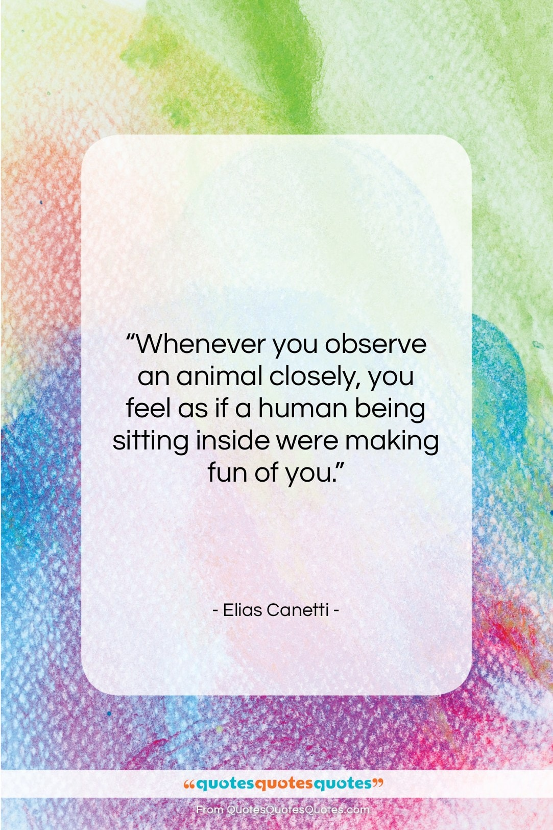 """Elias Canetti quote: """"Whenever you observe an animal closely, you…""""- at QuotesQuotesQuotes.com"""