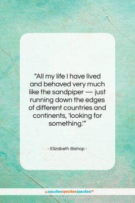 """Elizabeth Bishop quote: """"All my life I have lived and…""""- at QuotesQuotesQuotes.com"""