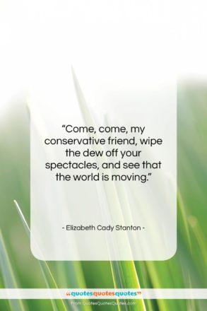 """Elizabeth Cady Stanton quote: """"Come, come, my conservative friend, wipe the…""""- at QuotesQuotesQuotes.com"""