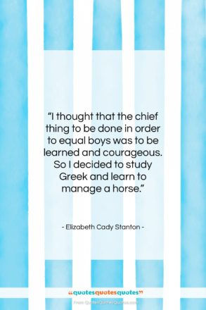 """Elizabeth Cady Stanton quote: """"I thought that the chief thing to…""""- at QuotesQuotesQuotes.com"""