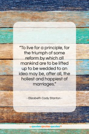 """Elizabeth Cady Stanton quote: """"To live for a principle, for the…""""- at QuotesQuotesQuotes.com"""