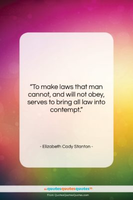 """Elizabeth Cady Stanton quote: """"To make laws that man cannot, and…""""- at QuotesQuotesQuotes.com"""
