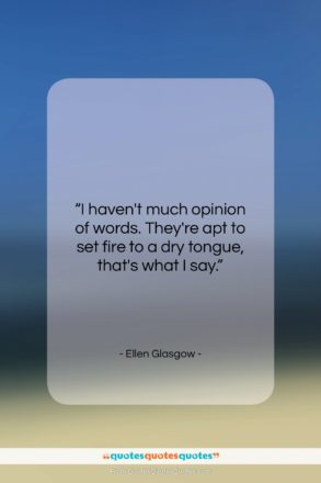 """Ellen Glasgow quote: """"I haven't much opinion of words. They're…""""- at QuotesQuotesQuotes.com"""
