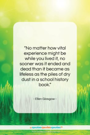 """Ellen Glasgow quote: """"No matter how vital experience might be…""""- at QuotesQuotesQuotes.com"""