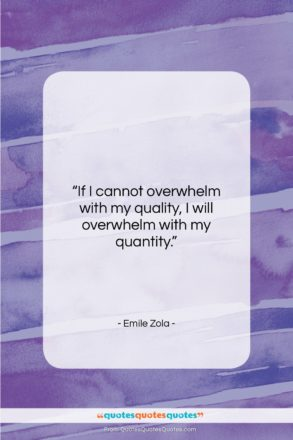 """Emile Zola quote: """"If I cannot overwhelm with my quality,…""""- at QuotesQuotesQuotes.com"""