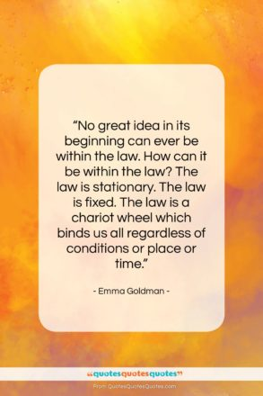 """Emma Goldman quote: """"No great idea in its beginning can…""""- at QuotesQuotesQuotes.com"""