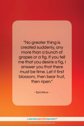 """Epictetus quote: """"No greater thing is created suddenly, any…""""- at QuotesQuotesQuotes.com"""