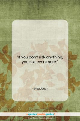 """Erica Jong quote: """"If you don't risk anything, you risk…""""- at QuotesQuotesQuotes.com"""