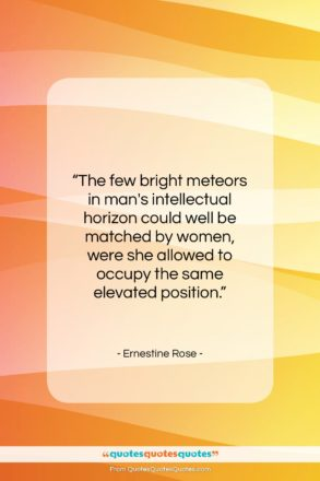 """Ernestine Rose quote: """"The few bright meteors in man's intellectual…""""- at QuotesQuotesQuotes.com"""
