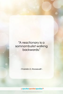 """Franklin D. Roosevelt quote: """"A reactionary is a somnambulist walking backwards….""""- at QuotesQuotesQuotes.com"""