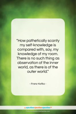 """Franz Kafka quote: """"How pathetically scanty my self-knowledge is compared…""""- at QuotesQuotesQuotes.com"""