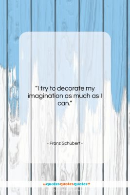 """Franz Schubert quote: """"I try to decorate my imagination as…""""- at QuotesQuotesQuotes.com"""