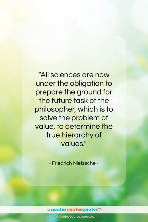 """Friedrich Nietzsche quote: """"All sciences are now under the obligation…""""- at QuotesQuotesQuotes.com"""