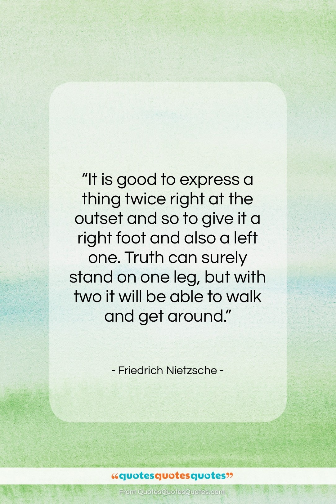 """Friedrich Nietzsche quote: """"It is good to express a thing…""""- at QuotesQuotesQuotes.com"""