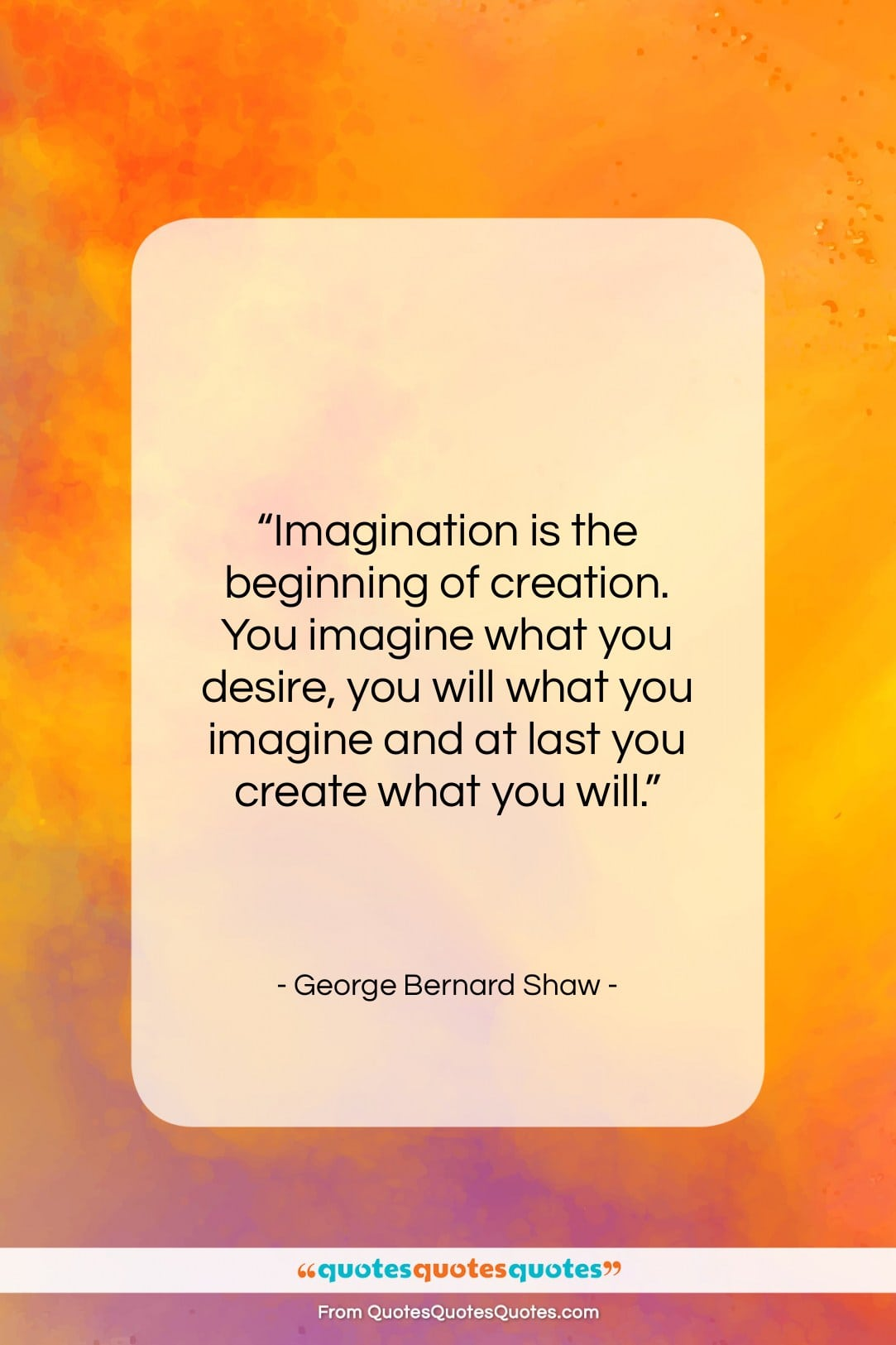 """George Bernard Shaw quote: """"Imagination is the beginning of creation. You…""""- at QuotesQuotesQuotes.com"""