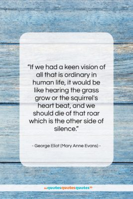 "George Eliot (Mary Anne Evans) quote: ""If we had a keen vision of…""- at QuotesQuotesQuotes.com"