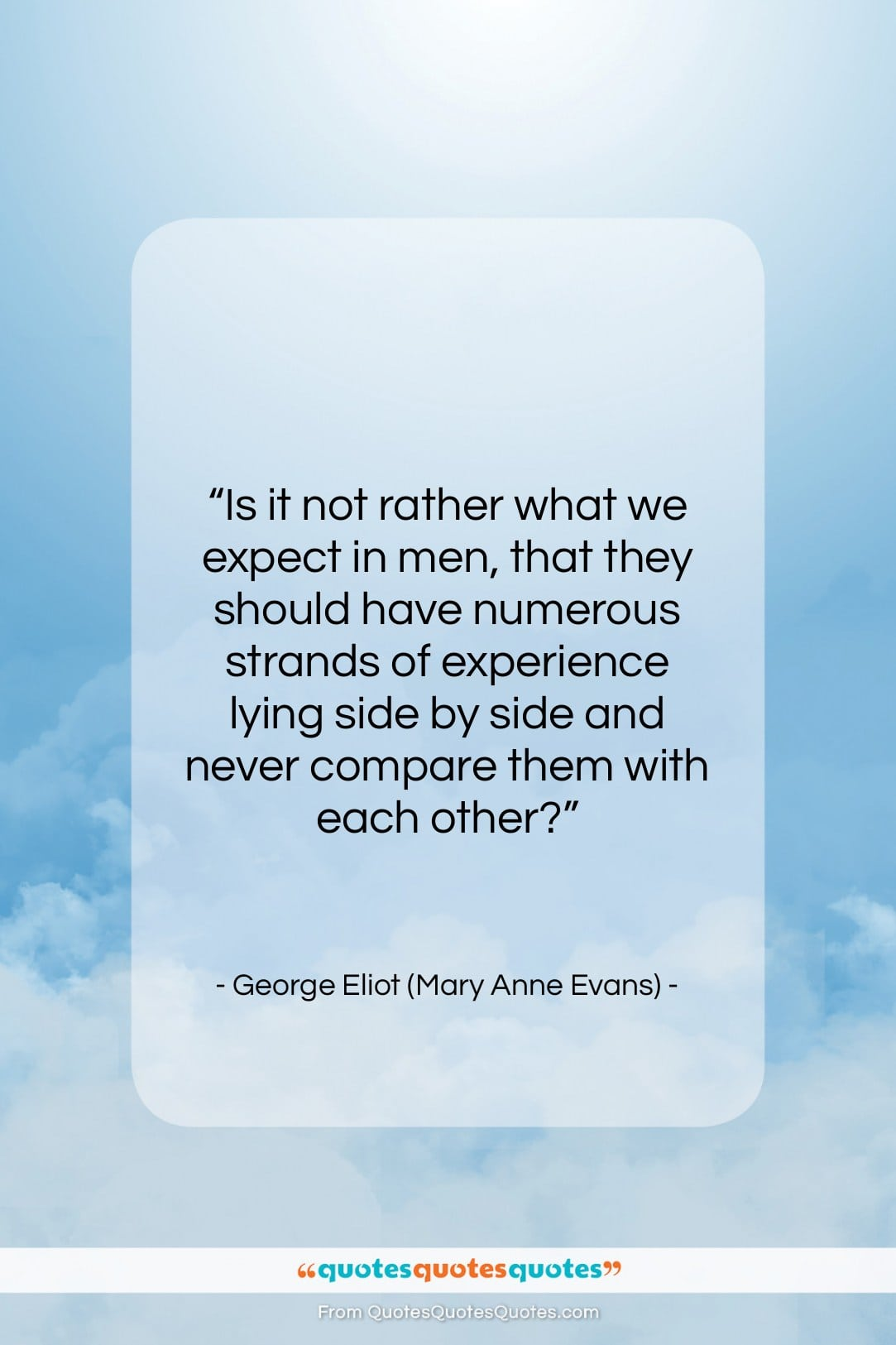 """George Eliot (Mary Anne Evans) quote: """"Is it not rather what we expect…""""- at QuotesQuotesQuotes.com"""
