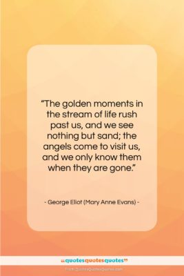 """George Eliot (Mary Anne Evans) quote: """"The golden moments in the stream of…""""- at QuotesQuotesQuotes.com"""