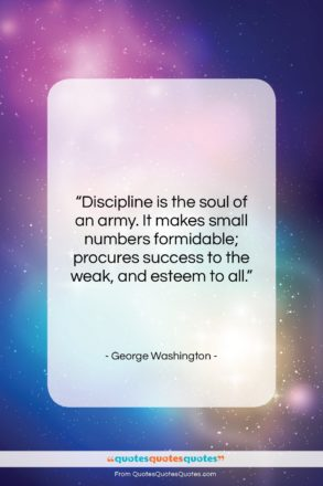 "George Washington quote: ""Discipline is the soul of an army….""- at QuotesQuotesQuotes.com"