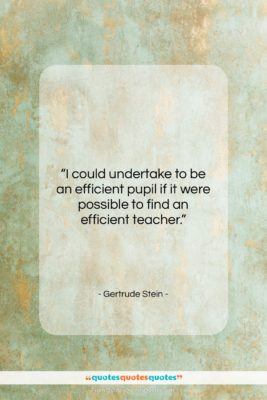 """Gertrude Stein quote: """"I could undertake to be an efficient…""""- at QuotesQuotesQuotes.com"""