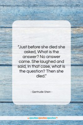 """Gertrude Stein quote: """"Just before she died she asked, What…""""- at QuotesQuotesQuotes.com"""