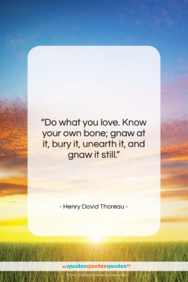 """Henry David Thoreau quote: """"Do what you love. Know your own…""""- at QuotesQuotesQuotes.com"""