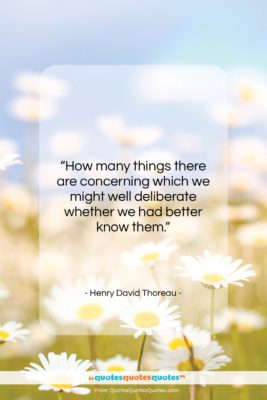 "Henry David Thoreau quote: ""How many things there are concerning which…""- at QuotesQuotesQuotes.com"