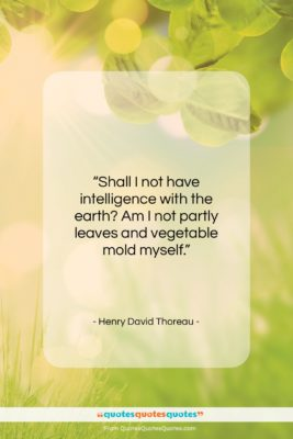 """Henry David Thoreau quote: """"Shall I not have intelligence with the…""""- at QuotesQuotesQuotes.com"""