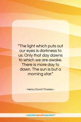 """Henry David Thoreau quote: """"The light which puts out our eyes…""""- at QuotesQuotesQuotes.com"""